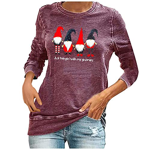 Dosoop Merry Christmas Shirt for Women Christmas Faceless Doll Gnome Graphic Long Sleeve Pullover Tees Casual Loose Tops