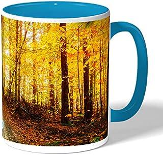autumn leaves Coffee Mug by Decalac, Blue - 19039