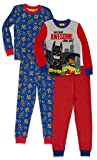 LEGO Batman Big Boys' Pajama, 4 Piece, 2 Sets Sleeve, Long Pant, Blue Red, 6