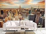 Oedim Fotomural Vinilo Pared Atardecer en la Ciudad de Nueva York Fotomural para Paredes, Vinilo Decorativo, Decoración comedores, Salones, Habitaciones.…