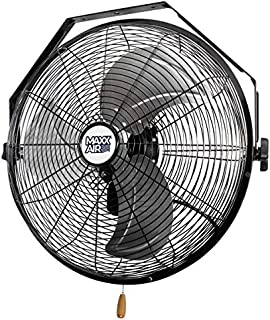 Maxx Air Wall Mount Fan, Commercial Grade for Garage, Shop, Easy Operation and Powerful CFM (18