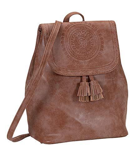 SIX Modischer Rucksack mit Mandala-Prägung und Zwei Quasten, Kunstleder, verstellbare Riemen (539-430)
