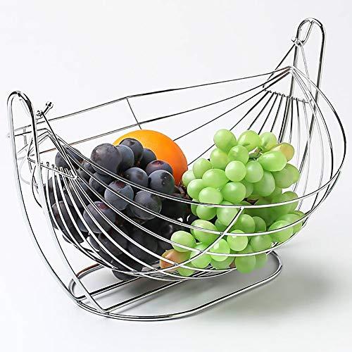 GBESTAO Creatieve roestvrijstalen fruitmand woonkamer smeedijzer swingHangmat Bowl Stand huishoudelijke salontafel moderne minimalistische