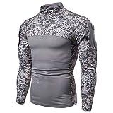 Camisa táctica de manga larga para hombre con cremallera de 1/4 estilo militar de combate, con bolsillos, para airsoft, ropa al aire libre, para caza, camping, senderismo