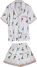 Wangs Women's Summer Silk Short Sleeve Nightwear Housecoat-2 Set