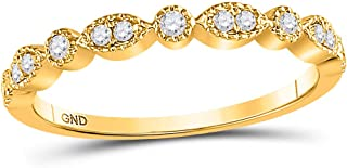 FB Jewels 10K Yellow Gold Womens Round Diamond Marquise Dot Stackable Wedding Band Ring 1/6 Cttw Size 7 (Widest point widt...