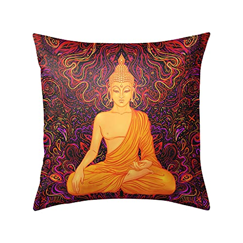 Trippy Hippie Background Sitting Buddha Pillow Cases Decorative Throw Pillow Covers Luxury Pillow Case for Sofa Home Couch Car Bedroom Decor Invisible Zipper Square 18x18inch