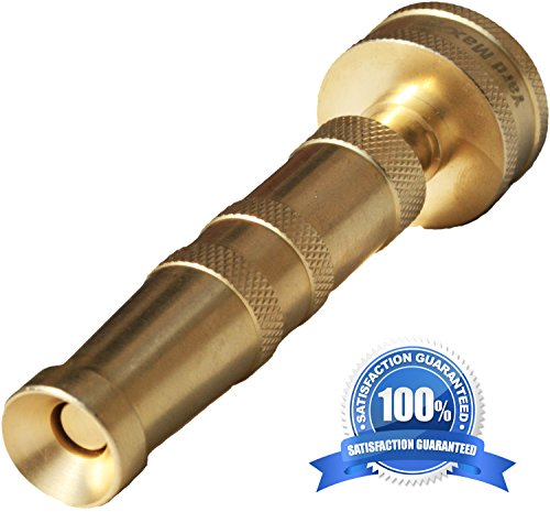 Heavy Duty Garden Hose Twist Nozzle, Proven Classic Design, Solid Brass Adjustable Power Sprayer That's Built to Last, Best for: Car Wash,Watering Flowers,Lawn, Organic Gardens, Expanding Hose