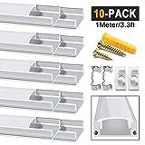 Chesbung LED Aluminium Profil 1m, 10er Pack in U-Form für LED-Strips/Band bis 12 mm) inkl. Abdeckungen in milchig-weiß, Endkappen, und Montagematerial