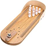 Desktop Mini Bowling Game Set - Unique Novelty Office Desk Toys - Funny White Elephant Gag Gifts - Wooden Table Top Fun Family Board Games for Kids Adults Men - Finger Sports Cute Stocking Stuffers