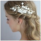 HONEY BEAR donna clip pettine per capelli,gioielli da sposa,accessori per capelli sposa,gioielli a forma di fiore con finte perle e strass (Fiore in ceramica C)