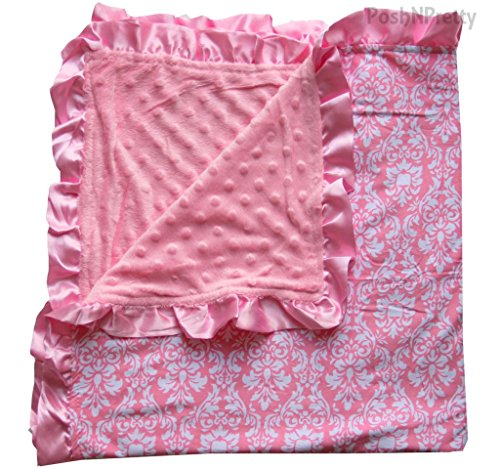 Soft and Cozy Large Minky Blanket - Pink Damask with Pink Satin Trim