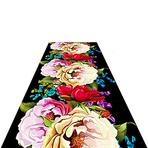 LSM Rug American Style Carpet, Non Slip Black Rug Runner with Colorful Floral Pattern and Bottom Anti-skid Particles, for Kitchen Hallways Decor (Size : 60×550cm)