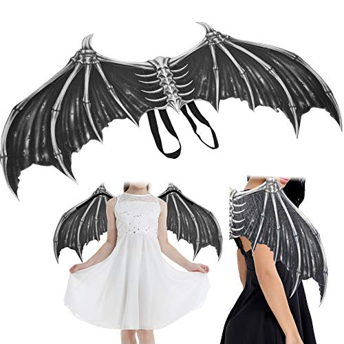 YIFengFurun Alas de Cosplay de Halloween, Disfraz de Fiesta de Halloween Prop Alas de Hueso de Demonio para decoración de Fiesta de Mardi Gras de Halloween(Negro)