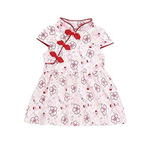 Puseky Baby Mädchen Cheongsam Kleid Blumendruck Prinzessin Playwear Party Brautkleider Chinese Qipao (Color : Pink, Size : 6-12 Months)