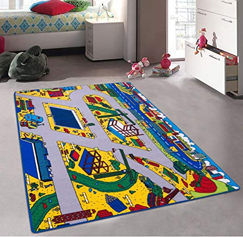 Champion Rugs Kids Baby Room Daycare Classroom Playroom Construction Zone Work Site with Train Tracks Rug Carpet (5 Feet X 7 Feet)