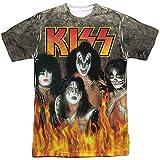 Kiss Iconic Rock Band - Camiseta de manga corta para adultos, diseño de los miembros en llamas Blanco blanco 3XL