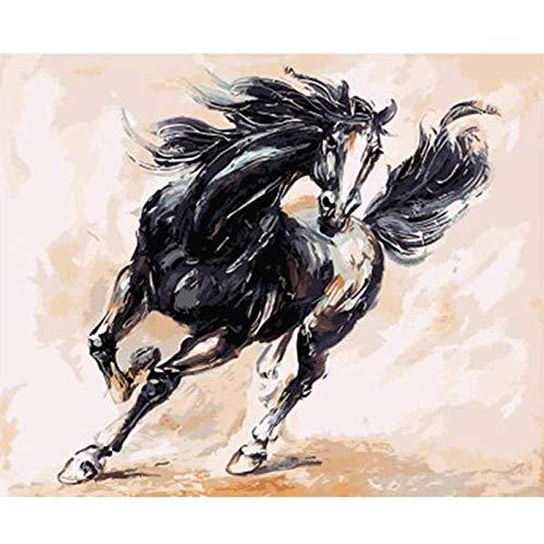 XAONUO Pintar por número, Juego de Pintura al óleo sobre Lienzo, Adecuado para Adultos, niños, Principiantes, Accesorios para el hogar Pintados a Mano (sin Marco) 40x50cm-caballo Negro