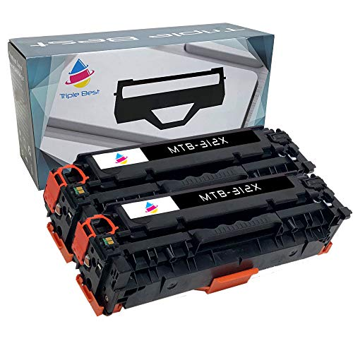 Triple Best Compatible Toner Cartridge Replacement for HP 312X CF380X High Yield Black Laser Toner Cartridge Used with HP Color Laserjet Pro MFP M476dn MFP M476dw MFP M476nw (2 Pack)