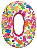 iscream Lettermania O Initial 16' Candy Collage Print Fleece Back Microbead Pillow