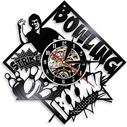 Decoración de la Bolera Reloj de Pared del Club de Bolos Bowling Strike Jugador de Bolos Disco de Vinilo Retro Reloj de Pared Bowling Lover Gift LED Light