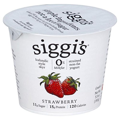 Siggis Strained Non-Fat Yogurt, Strawberry, 5.3 Ounce (Pack of 12)
