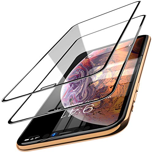 TOZO für iPhone XS Max Panzerglas Schutzfolie, 6,5 Inch Full Screen Curved Folie für iPhone XS Max [9H Härtegrad 3D Touch Kompatibel] (Schwarz)