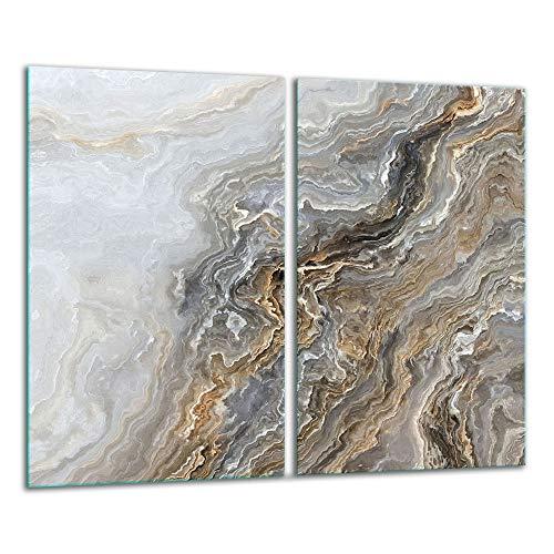 TMK - Placa protectora de vitrocerámica 30 x 52 cm 2 piezas cocina eléctrica universal para inducción protección contra salpicaduras tabla de cortar de vidrio templado como decoración, marmol