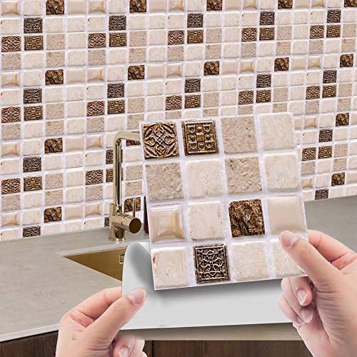 Hiseng Rettangolo Adesivi per Piastrelle da Cucina, Marmo 3D Mosaico Stampa Impermeabile Adesivo da Parete Formato Autoadesivo Decorativo per Bagno Decorazioni, 10x10cm (Marrone Mosaico,30Pezzi)