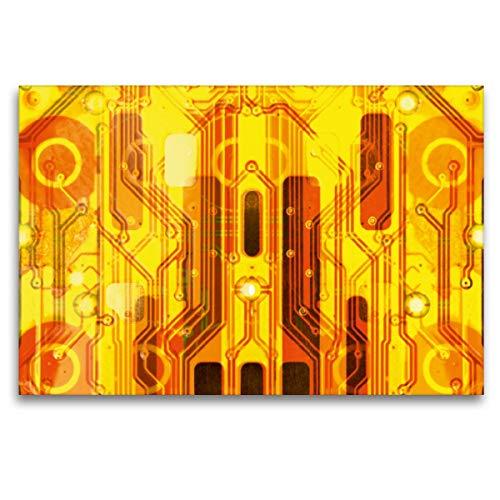 Premium Textil-Leinwand 120 x 80 cm Quer-Format Kirche auf goldenem Hintergrund, Leinwanddruck von Maurus Spescha