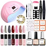 Modelones Gel Nail Starter Kit with 48W UV LED Light, 7 Colors Soak