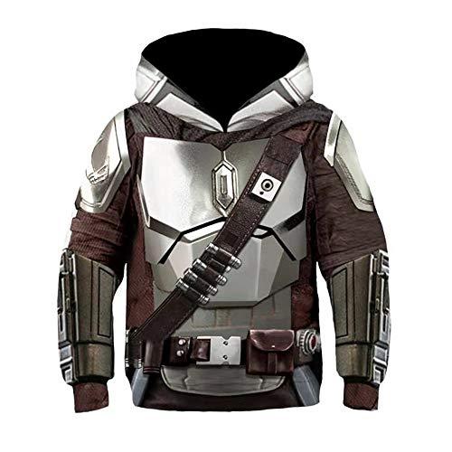 Mandalorian Hoodie SW Film Cosplay Kostüm Zubehör 3D-Druck Unisex Kleinkind Kinder Kostüm Film Mode Polyester Sweater (E,M)