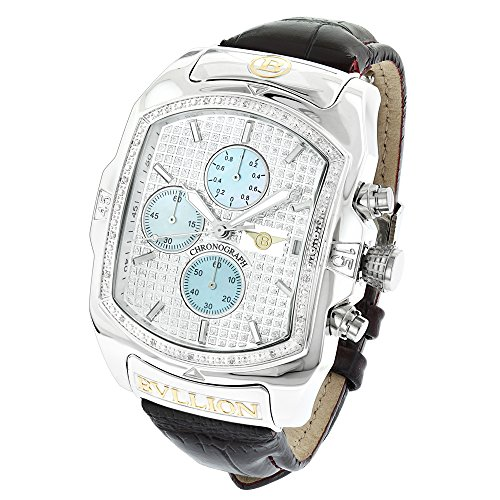 Luxurman Real Diamond Bubble Watch Oversized Stainless Steel with Chronograph and Leather Band