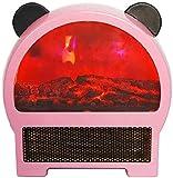 Gymqian Ahorro de Energía de la Panda 3D Llama Chimenea Eléctrica de Sobremesa Silenciosa Mini Chimenea Rápido Calentador Eléctrico Adecuado para el Hogar/Oficina/Dormitorio Ros