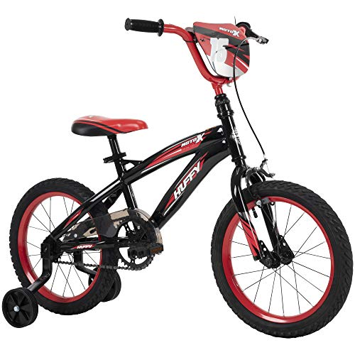 Huffy Moto X 16 Inch Kid's Bike with Training Wheels, Quick Connect Assembly, Black