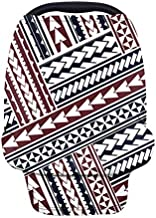 JOAIFO Ethnic Polynesian Aztec Printed Baby Car Seat Cover Canopy,Multi-use Breathable Nursing Breastfeeding Cover Stretchy Friendly