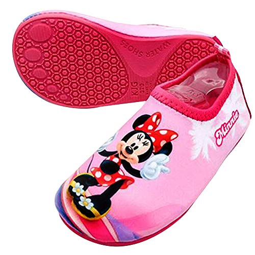 Joah Store Minnie Mouse Water Shoes Reinforced Toe Barefoot Aqua Socks Pink Shoes for Girls Runs Small (9.5 M US Toddler, Minnie Mouse_C)