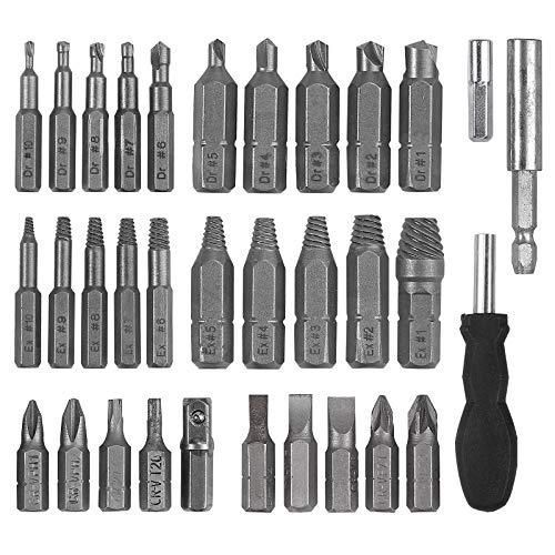 AUTOUTLET Extractor de Tornillos Kit de Extractor de Tornillos Rotos con 10 tamaños de taladros y Soporte de extensión magnética y Adaptador de Enchufe, con 10 Piezas Destornillador Manual y Broca