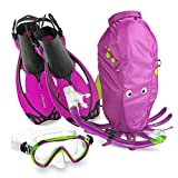 Mares Italian Collection Premium Youth Sea Pals Character Kids Mask Fin Snorkel Set Snorkeling Gear - Ultra-Clear Tempered Glass Lens Snorkeling Set (Purple, Small/9-13)
