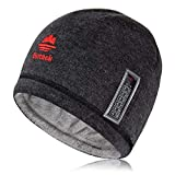 EXski Knit Warm Winter Hat Soft Rabbit Fur Beanie Hat with Thermometer for Mens Women Black