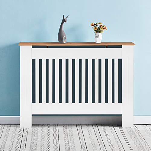 OFCASA Modern Design Radiator Cover White and Wood Painted Radiator Cabinet Vertical Slatted MDF Heating Cover for Living Room Bedroom Hallway Medium 112 x 19 x 82cm