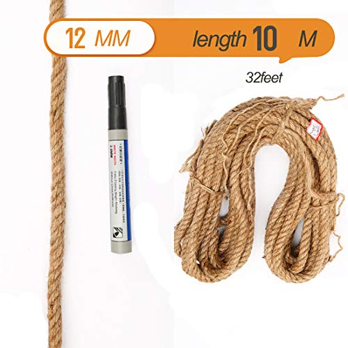 Natural Jute Twine Thick Cord Rope 12mm 32feet for Wall Hanging, Plant Hangers, Home Decoration, Cat Scratch Board