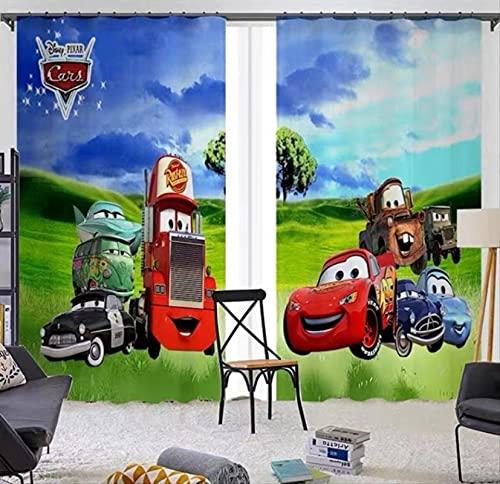 Cortinas opacas de coche McQueen de dibujos animados, dormitorio de niño, sala de estar, ventana panorámica, habitación de niños para niños y niñas, regalos 265(H)x200(W)Cmx2 Paneles / Set (B-1528)