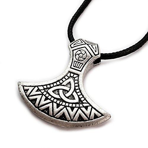Miss–E–Jewels TM Antik Silber kunstvolles Mammen-Axt Anhänger Halskette Damen Herren Viking nordischen sekira Nordic Talisman Thor Rune slawischen Pegan Celtic