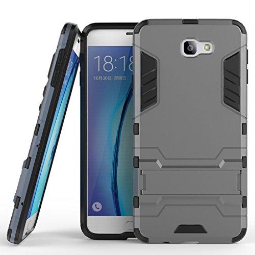 Hülle für Samsung Galaxy J5 Prime / On5 2016 (5 Zoll) 2 in 1 Hybrid Dual Layer Shell Armor Schutzhülle mit Standfunktion Hülle (Grau)