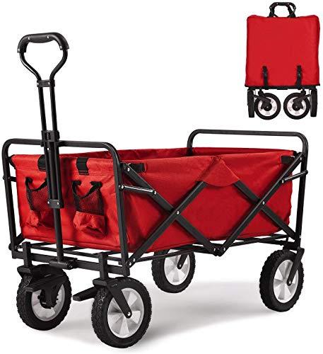TAMPOR Bollerwagen faltbar Handwagen mit Bremsen Transportkarre Gerätwagen klappbar inkl.2 Netztaschen, Transportwagen Gartenwagen Gartenanhänger ohne Dach, 360°drehbar,belastbar bis 80kg, Rot