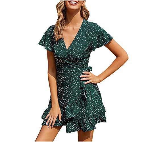 Pistaz Vestido corto de verano para mujer, informal, holgado, con estampado de lunares, cuello en V, campanilla, manga corta, con volantes, cinturón en el dobladillo, vestido de playa.