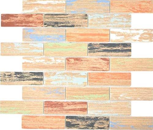 GLAS mozaïek Brick ECO hout kleurrijke muur vloer keuken douche badkamer tegelspiegel | 88-1234_f | 10 mozaïekmatten