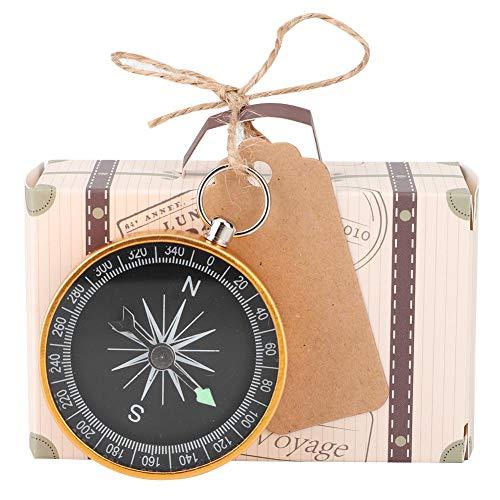 HERCHR 20 Piezas Mini Maleta Caja de Regalos de Fiesta Caja de Dulces con brújula y Etiquetas Kraft para Viajes Decoraciones de Recuerdos de Boda(Oro)