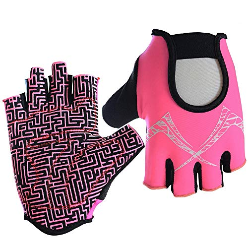 Cool Shock Absorption Half-Finger Mountain Bike Fitness Gloves Sports Outdoor Fishing Climbing Training Breathable Non-Slip Fitness Gloves (Color : Pink, Size : 1XL)